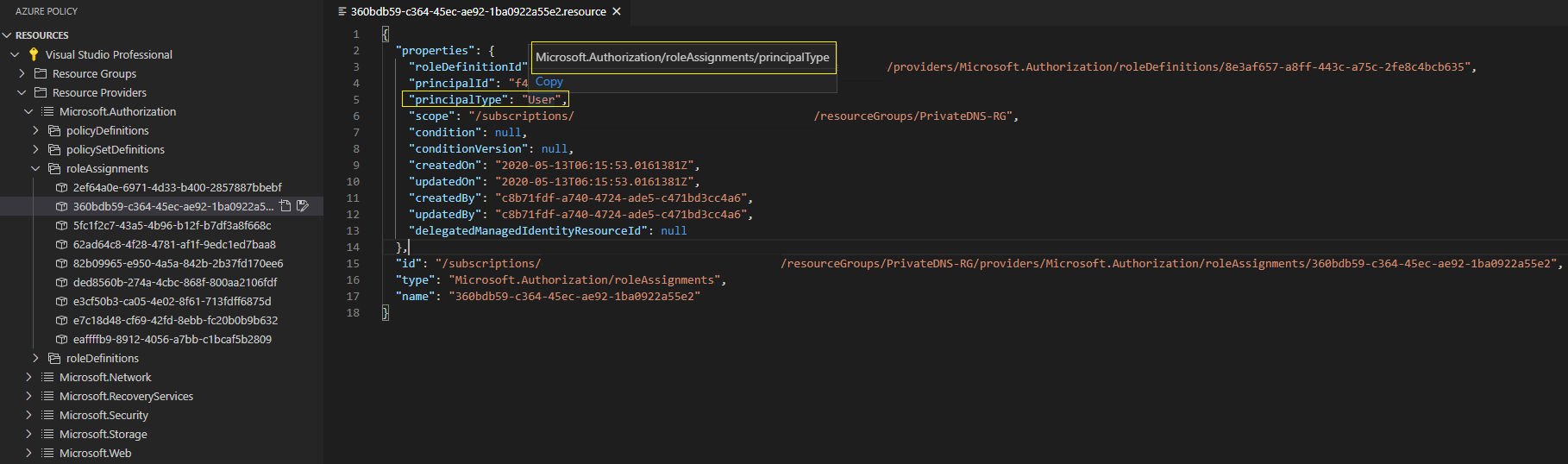 azure policy extension roleassignments principaltype